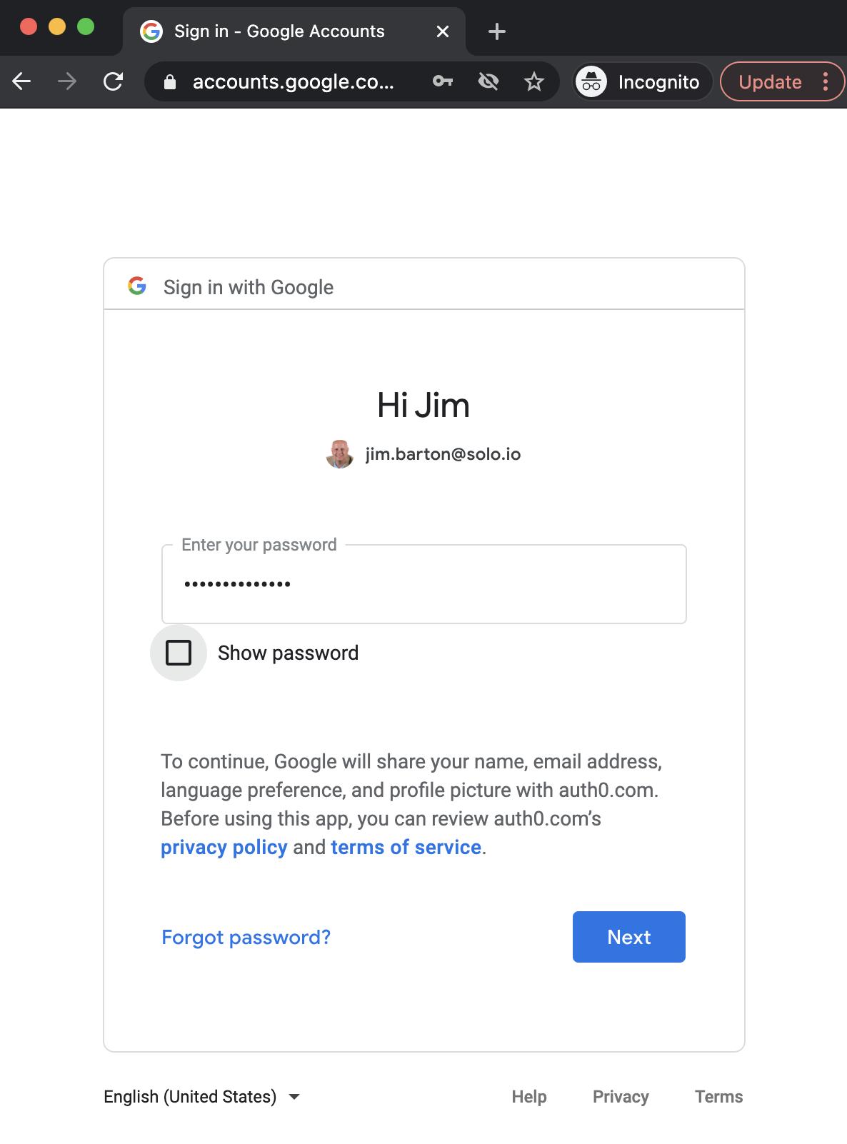 Google User Auth Dialog